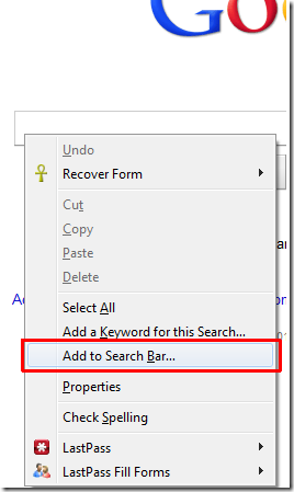 Add To Search bar